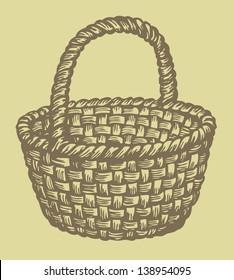 Vector image. Monochrome picture wickerwork basket