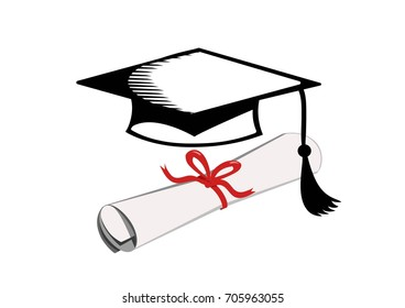 Vector image of a mortar board and a scroll tied with a ribbon.