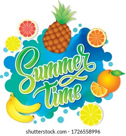 vector image of multi-colored lettering. summer and tropical fruits. for printing on bags, t-shirts, paper cups, postcards.