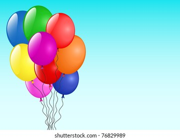 The vector image of multi-coloured volume balloons against the blue sky