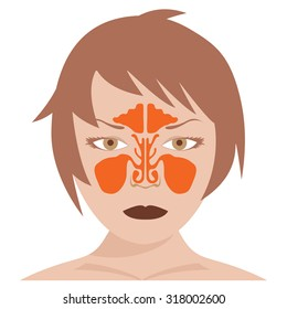 vector image of nasal and frontal sinus. woman model on white background.