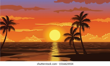 a vector image of nature with the sun going down behind the sea which is something of amazing beauty