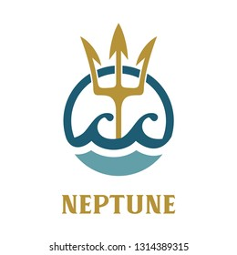 Vector image of Neptune's Trident. Neptune template logo design.