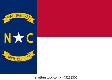 Vector image of North Carolina State Flag. Proportion 2:3. EPS10.