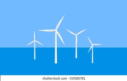 Vector image of offshore wind turbines