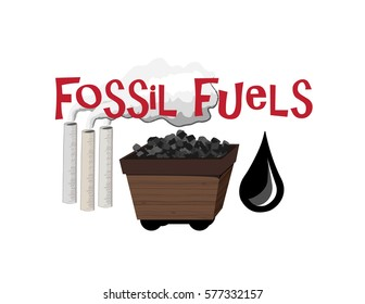 Vector image of an old fashioned coal cart, oil drop, chimneys and the words Fossil Fuels