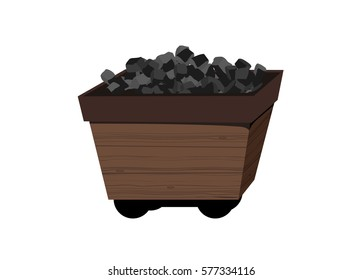 Vector image of an old fashioned coal cart