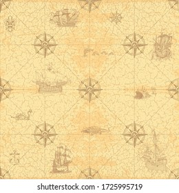 vector image of an old nautical chart in the style of medieval prints seamless texture