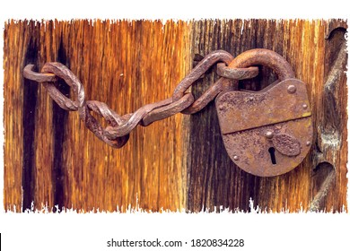 vector image of an old padlock with a chain on wooden doors