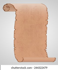 vector image of old parchment. Transparency used. Stains and texture of parchment are on separate layer and their transparency and color can be changed easily.