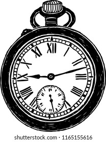Vector image of old pocket watch