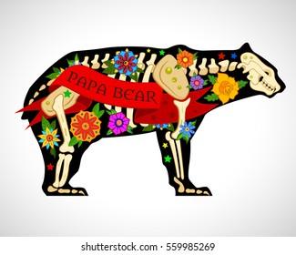 vector image. old school bear. tattoo skeleton