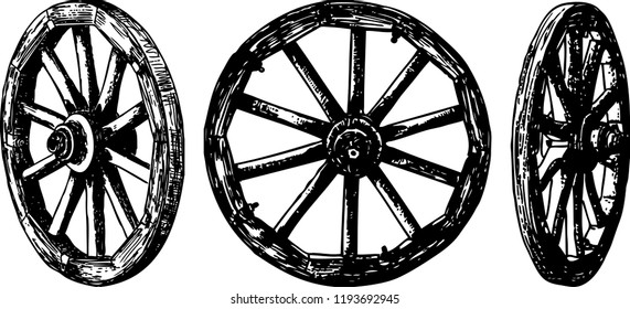 Vector image of old wooden wheels