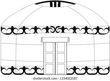 Vector image on isolated white background, folk dwelling of eastern nomadic peoples of Asia - yurt.