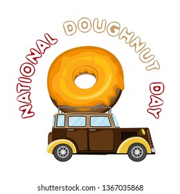 Vector image on a transparent background with a machine, a donut and text. For the celebration of world day donut