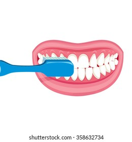 Vector image on a white background. how to brush your teeth rightly with a toothbrush. Healthy, white teeth. healthy strong , white teeth. health care , daily hygiene. Pink lips