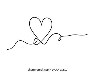 Vector image one line stroke love