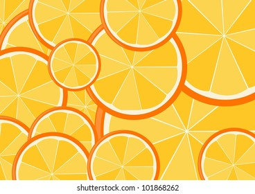 A vector image with oranges
