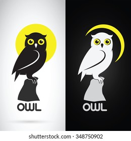 Vector image of an owl design on white background and black background, Logo, Symbol,Animals