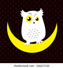 Vector. Image of an owl that sits on a moon / Snowy owl