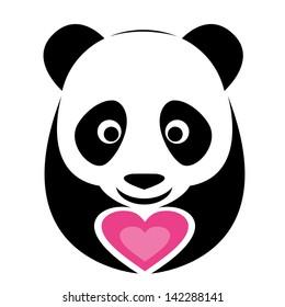Vector image of an panda and pink heart