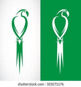 Vector image of an parrot design on white background and green background, Logo, Symbol