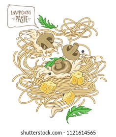 vector image pasta with mushrooms champignons and white sauce over white background