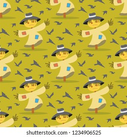 Vector image Pattern Scarecrow field Scare Birds. Set Vector Illustration Cartoon Seamless image Straw Scarecrow on field Scare Birds Isolated on Yellow Background. Concept gift Wrapping, cards