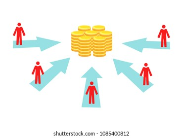 Vector image of people and arrows pointing towards money