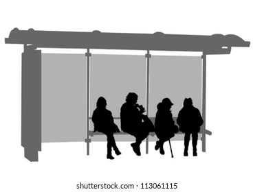 Vector image of people at a bus stop