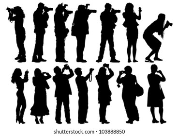 Vector image of people with cameras and model