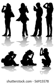 Vector image of people with cameras for a walk