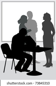 Vector image of people in office of table
