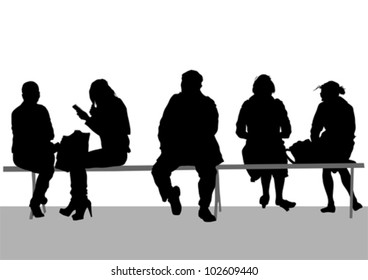 Vector image of people on bench