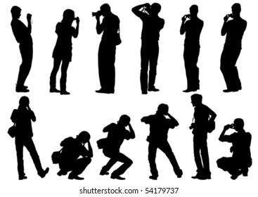 Vector image of people photographers with equipment at work