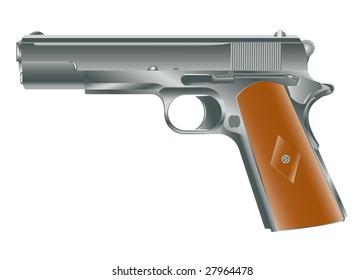 Vector image of personal pistol hand gun