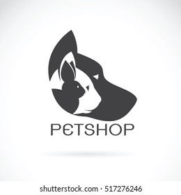 Vector image of pets design on white background. Petshop, Dog, Cat, Rabbit, Animal Logo