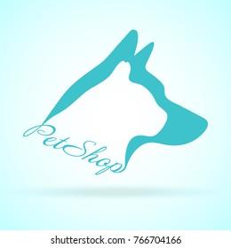 Vector Image Of Pets Design On Background. Petshop, Dog, Cat. Animal Logo Vector Illustration EPS. Logo of Petcare. Vector Logotype Illustration. Creative Concept