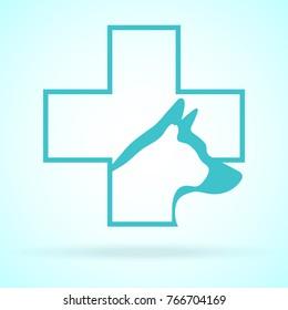 Vector Image Of Pets Design On Background. Petshop, Veterinary, Dog, Cat. Animal Logo Vector Illustration. Logo of Petcare. Vector Logotype Illustration. Creative Concept