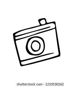 Vector image of a photocamera. Simple free hand drawing.
