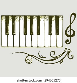 Vector image of piano keys. Beautiful ornamental patterns