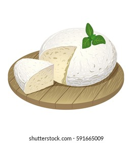 Vector image of a piece of goat cheese on cutting Board