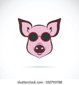 Vector image of a pig glasses on white background. Animals Fashion