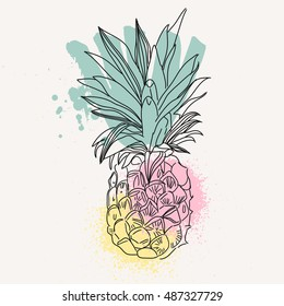 Vector Image of pineapple fruit exoti background. Print t-shirt, graphic element for your design. illustration.