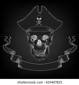 The vector image of Pirate Skull Jolly Roger with ribbon, hat.