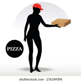 Vector Image - Pizza Delivery Person isolated on white background