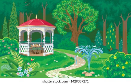 Vector image of a place of rest near the forest with a beautiful carved wooden gazebo and a small fountain