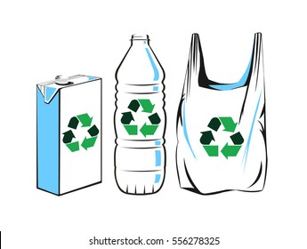 Vector image of plastic bag, carton, and bottle with recycling symbols
