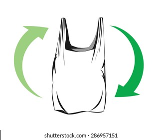 Vector image of a plastic bag and green arrows indication recycling