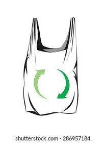 Vector image of a plastic bag and green arrows to represent recycling